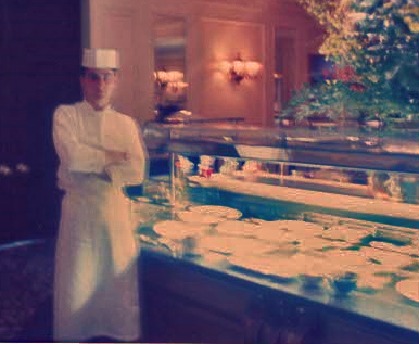 """A shaky 1992 picture of me at the """"Lanes Restaurant """" buffet"""