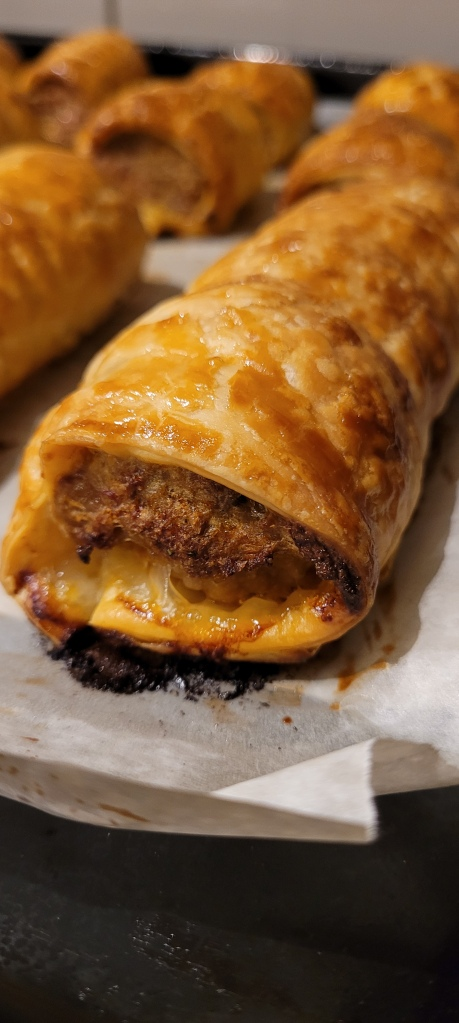 Hot Beef Sausage roll, straight from the oven