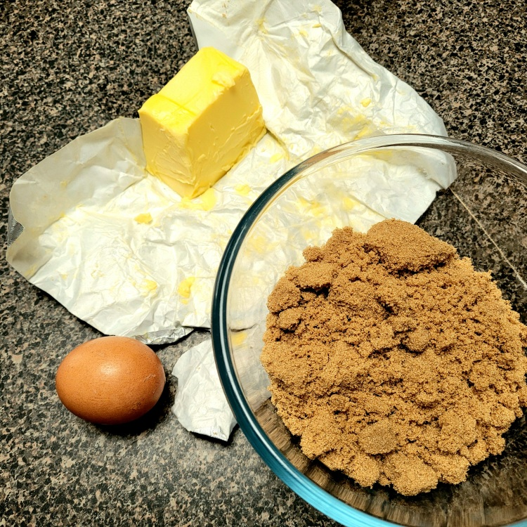 Butter , egg and brown sugar ready to be mixed